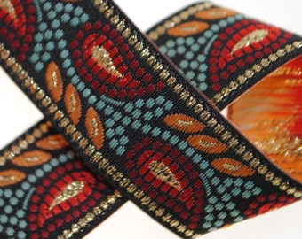 Leaves Woven Jacquard Trim 3/4 inches wide - Two, Five, or Ten Yards