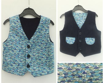 Boy's Vest, Boy's Reversible Vest, Boy's Waistcoat, Boy's Reversible Waistcoat, Boy's Clothing, Child's Clothing, Toddler, Cars