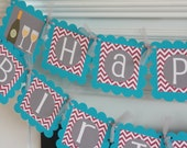 Happy 65th 50th 65th 30th 21st Birthday Purple Turquoise & Grey Chevron Champagne Bottle Glass Cocktail Theme Banner - Bachelorette Banner