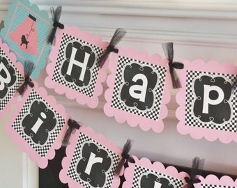 Happy Birthday Pink Black Blue 50's Poodle Skirt Sock Hop Jukebox Music Rock n Roll 1950's Theme Banner - Party Pack Specials