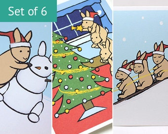 Bunny Christmas Card Set - Rabbit Holiday Cards (Set of 6)