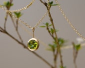 18K Gold Necklace - Peridot Gold Necklace - Green Gem Pendant Necklace in 18k Gold - Peridot Gold Necklace - Bridal Wear - Free Shipping