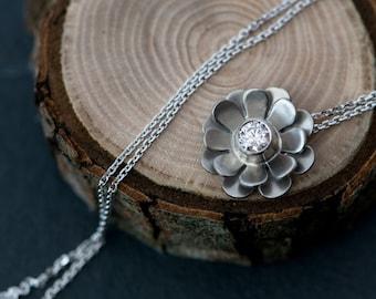 18K Gold Diamond Necklace - Diamond Flower Pendant - Daisy Pendant Necklace with Diamond - Gold Flower Pendant - Bridal Wear - FREE SHIPPING