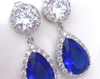 Bridal Earrings Halo Sapphire Royal Blue Peardrop Cubic Zirconia with White Gold Plated Round Stud CZ Earrings