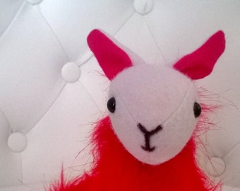 Red and White Alpaca Stuffed Animal Plush Plushie Ooak Gift Cute Toy Nursery Softie Soft Llama