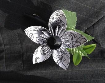 Wedding Boutonniere Single Kusudama Paper Flower Black & White