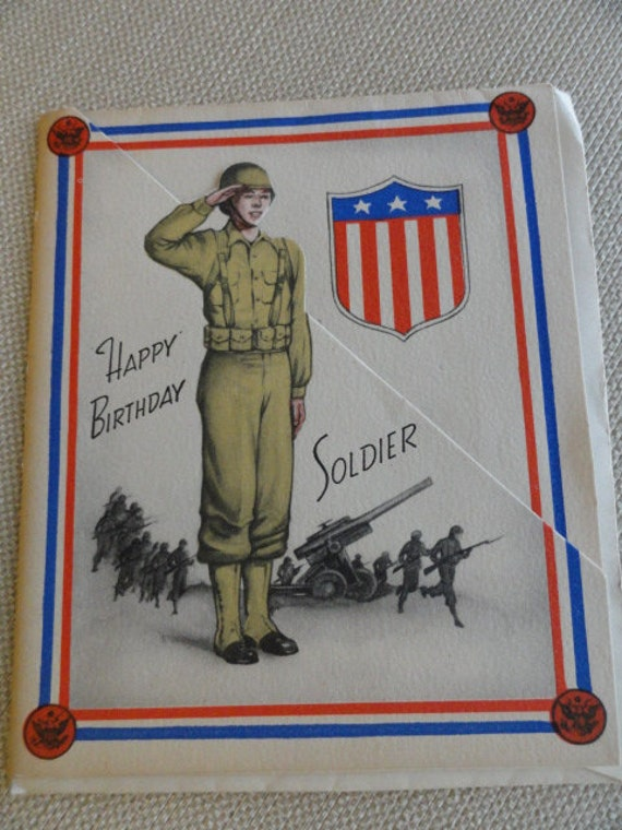 A617 Vintage Happy Birthday Soldier Card WWII By ABGGoodStuff