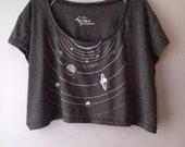 grey SOLAR SYSTEM neckline print, poly cotton american apparel crop top, one size