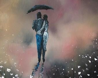 ACEO Print Romantic walk in the rain #18