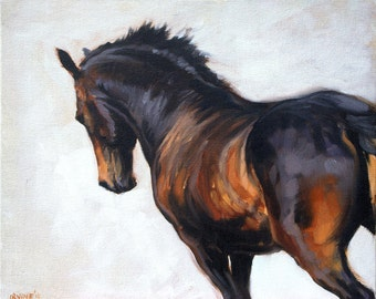 Beautiful Equine horse art LE dressage horse gift horse lover gift wall art home decor horse print 'Equus I' from an original oil on board