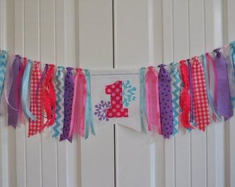 Pink, aqua & lavender first birthday fabric highchair rag banner, Winter Wonderland birthday party decor ONEderland cake smash photo prop