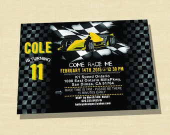 Race Car Birthday Invitation, Go Kart Birthday Invitation, Race Car Invitation, Printable