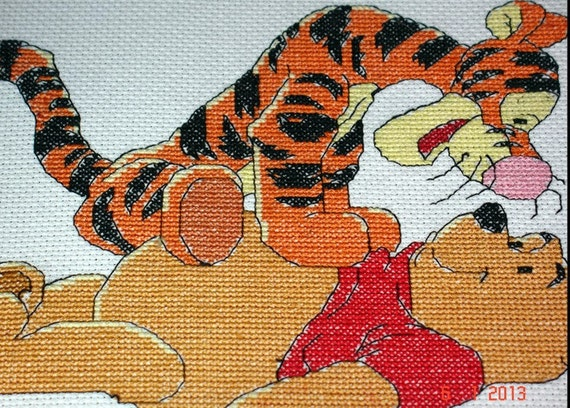 Winnie the Pooh cross stitch, Tigger birthday, nursery display, kids decor, cartoon animal , winnie the pooh baby shower,