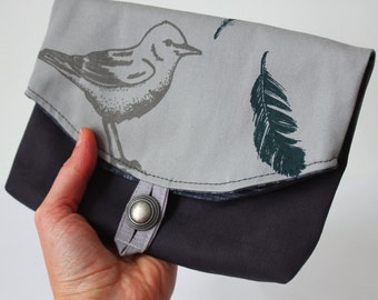 Foldover Pouch/Clutch Bird and feathers screen print, light grey, charcoal twill Bridesmaids~Ready to ship