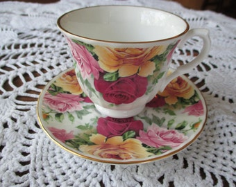 Vintage Crown Trent Limited Bone China Tea Cup & Saucer Set - Roses