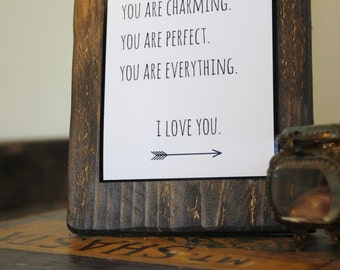 "Romantic Gift for Her - Rustic Wood Decor Sign - Customizable - ""I LOVE YOU"" - Bride Gift - Anniversary Gift - Valentine's Gift"