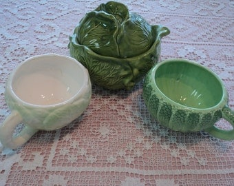 3 Vintage Lettuce Ware Plaster Mold Bowls, Green Hand Glazed Finished Soup tureen with Lid and 2 Bowl Cups in Majolica Like Designs