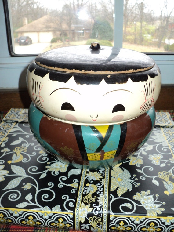 vintage kokeshi bento box lacquer painted wooden round box. Black Bedroom Furniture Sets. Home Design Ideas