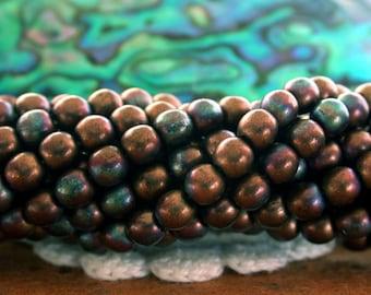 4mm Druks, Jet - Matte Bronze Vega Beads, Czech Glass Druks, Round Glass Beads, Druk Beads CZ-462