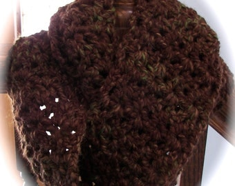 Infinity Scarf in  Mesquite Brown /  Men or Woman Scarf / Winter Scarf in Brown /  Many Styles to Wear