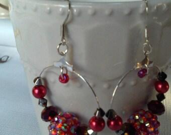 Pave Crystal HOOP Earrings , Jeweltone Hoop Earrings ,Beaded Hoops, Gifts for HER, Berry Color Earring Sale