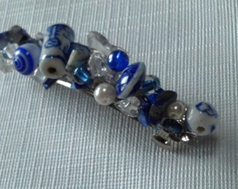 Hair Clip, BLUE BLISS,  Custom Color, Beaded in Blue,  Pick Your Color, Custom Hair Jewelry