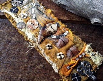 Tattered textile cuff | Shabby textile cuff | Textile wrist cuff | Victorian tribal cuff   | Rustic tribal | Raw sunstone | Steampunk cuff