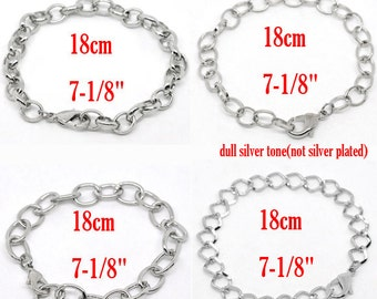 """Silver Bracelets Assorted  - 7 1/8"""" - (18cm) -  4pcs -  Ships IMMEDIATELY  from California - CH377"""