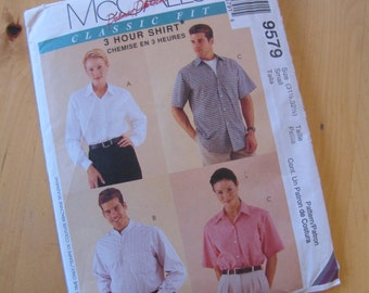 Uncut McCalls 9579 Sewing Pattern - Palmer Pletsch - 3 Hour Shirt, Classic Fit - Size 31 1/2, 32 1/2