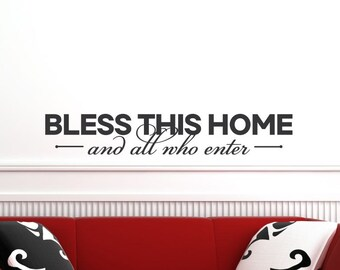 Religious Wall Decal Religious Wall Decor Spiritual Wall Decal Spiritual Wall Decor Bible Verse Christian Home Decor Bless This Home