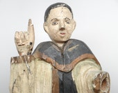 RESERVED LISTING for BRUCE-----1800's Santos, Antique Hand Carved 13 3/4 Inches,  Hand PaintedPolychrome Saint