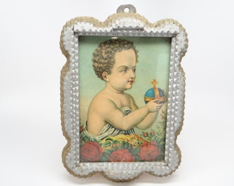 Early 1900's German Tramp Art Frame, Christ Child Jesus, Hand Chipped Layered Wood, Silver