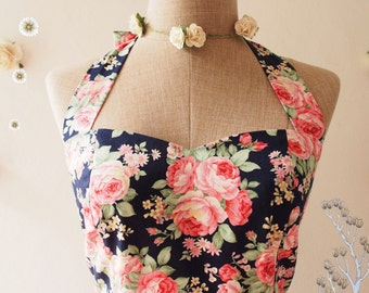 NOW SALE-Navy Tea Dress Pink Rose Floral Dress Sweet Rose Vintage Inspired Floral Tea Dress Floral Navy Party Dress Bridesmaid Dress