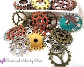 Mixed Metal Steampunk Gears (20) - Mixed Media Gears