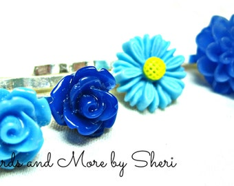Shades of Blue Flower Bobby Pins - 4
