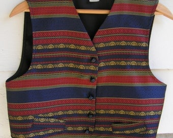 70s Button Down Brocade Vest Women's Medium Large Navy Red and Gold Metallic