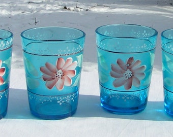 Set of 4 Early 1900s Art Nouveau NORTHWOOD Blue Frosted Tumblers Hand Painted Bubble Bordered Flowers