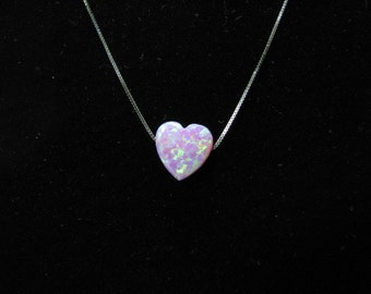 Dainty Pink Opal Heart Charm Pendant Necklace on 14K White Gold Chain