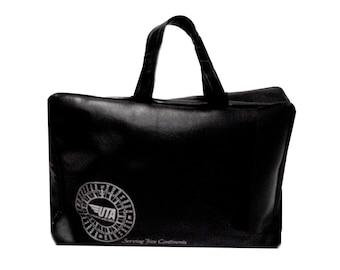 Vintage Flight Bag, UTA French Airlines, Black Vinyl Airline Bag, Compass Logo, Union de Transports Aériens