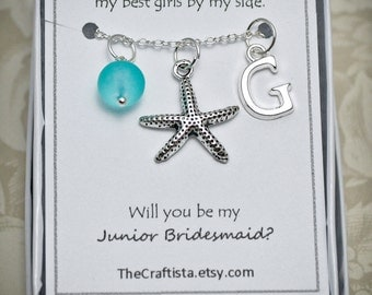 Personalized Junior Bridesmaid Necklace, Starfish Necklace, Junior Bridesmaid Gift, Starfish Charm, Beach Wedding, Starfish Pendant