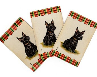 Vintage Scotty Dog Playing Cards, Lot of 3, Black Scottie, Smash Book Supply, Junk Journal Scraps, Puppy Ephemera, 1950s Swap Cards, Plaid