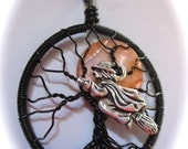 Witches Full Moon Tree of Life, October Full Moon Tree of Life, Flying Witch Harvest Moon Tree