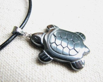 Turtle Hematite Necklace, Sea Turtle Necklace  Men or Women Gifts for Him Leather Cord Surfer Hematite Jewelry Mens Necklace, Turtle Pendant