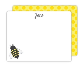Bee Note Cards - Personalized Flat Note Cards - Honey Bee Flat Note Cards - Kids Stationery - Children Stationery - Bumble Bee Notes