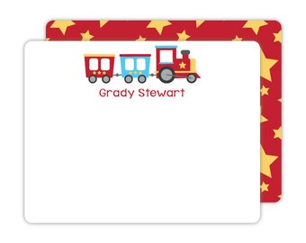 Train Flat Note Cards - Personalized Kids Stationery - Children Stationery - Train Thank You Cards