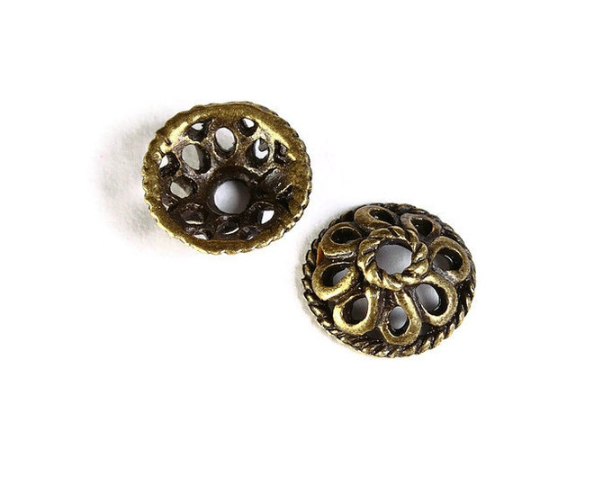 10mm antique brass beadcaps - 10mm flower bead caps - 10mm textured beadcaps - Cadmium free (1483) - Flat rate shipping