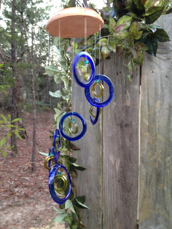 Glass wind chimes from recycled bottles eco by for Wind chimes from recycled materials