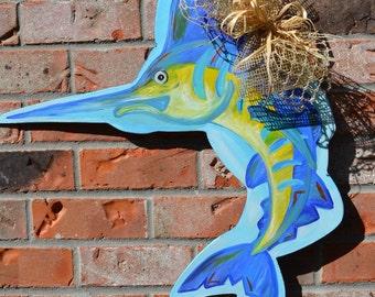 Wooden Marlin door hanger