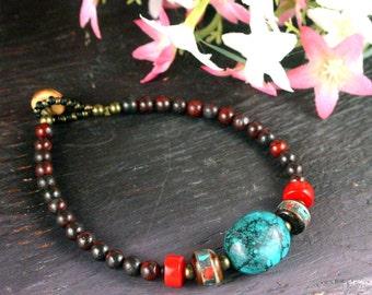 Mala Beads Bracelet, Turquoise Bracelet, Jasper Bracelet, Ethnic Jewelry, Yoga Bracelet, Tibet Prayer Beads, Hippie Boho Bracelet, Beadwork
