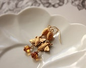 Honey for Bees, golden beaded earrings vintage recycled and handmade beads, FREE Aust Shipping